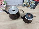 Чайник подвійний 1,2 / 2,5 л з антипригарним покриттям чорний / бронза (Туреччина) OMS 8204-L-Bronze, фото 3