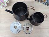 Чайник подвійний 1,2 / 2,5 л з антипригарним покриттям чорний / бронза (Туреччина) OMS 8204-L-Bronze, фото 7