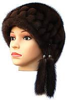 """шапка норковая  модель """"конфетка резаная 2 ряда """" цвет орех"""