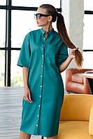 Супертрендовое кожаное платье-тренч свободного силуэта Джоди 42-52 размер разные цвета