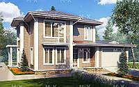 Проект двухэтажного дома с гаражом MS205