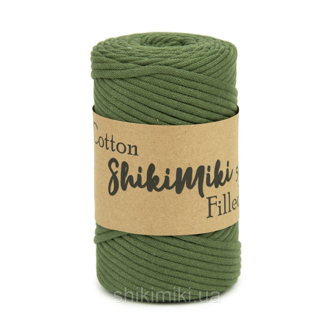 Трикотажный хлопковый шнур Cotton Filled 5 мм, цвет Светлый хаки