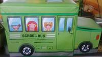 """Короб-пуфик для игрушек """"Веселый автобус""""(зеленый))"""