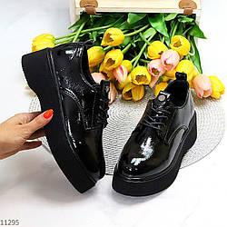 Лаковые глянцевые черные женские люксовые туфли на утолщенной подошве