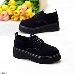 Замшевые черные женские люксовые туфли на утолщенной подошве