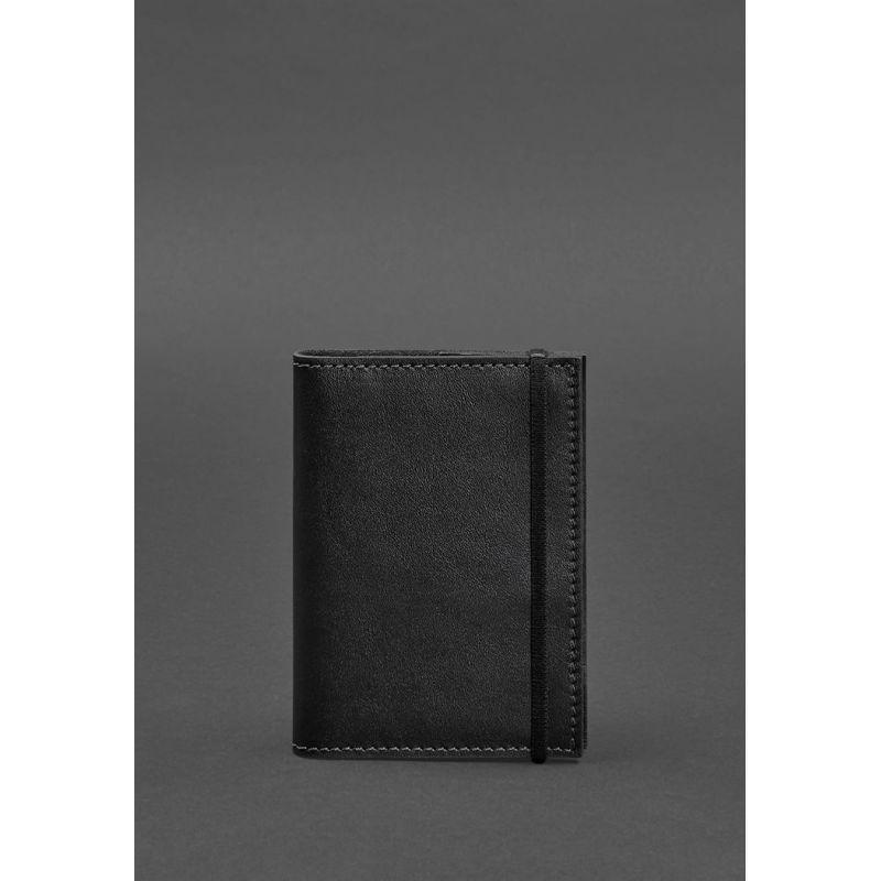 Кожаная обложка для паспорта 1.0 черная краст