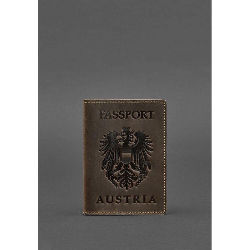 Кожаная обложка для паспорта с австрийским гербом темно-коричневая Crazy Horse