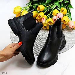 Удобные черные повседневные женские ботинки челси с эластичными вставками