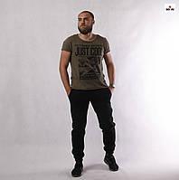 Штаны мужские спортивные теплые черные трехнитка 48-56р