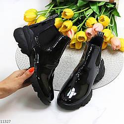 Лаковые глянцевые черные повседневные женские ботинки челси с эластичными вставками