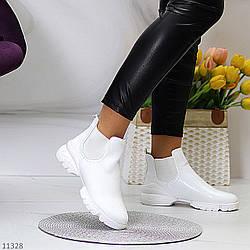 Удобные белые повседневные женские ботинки челси с эластичными вставками