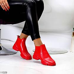 Удобные яркие красные повседневные женские ботинки челси с эластичными вставками