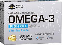 Жирні кислоти PERLA HELSA Натуральна Омега-3 з печінки тріски дикого улову з вітамінами А і D3 120 капсул по