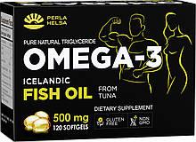 Жирні кислоти PERLA HELSA Омега-3 з м'яса тунця з високим вмістом DHA 120 капсул по 500 мг (PHX100500)