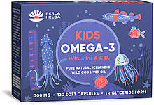Жирні кислоти PERLA HELSA Натуральна KIDS Омега-3 + Вітаміни А і Dз, 120 капсул по 300 мг (PHK100500)