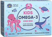 Жирні кислоти PERLA HELSA Натуральна KIDS Омега-3 з високим рівнем ДГК 120 капсул по 300 мг (PHP100500)