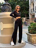 Жіночий стильний трикотажний костюм рубчик, брюки з високою посадкою, топ укорочений з довгим рукавом батал, фото 1