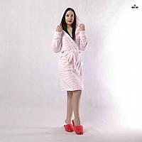Халат махровий жіночий з капюшоном шиншила короткий рожевий р. 42-52