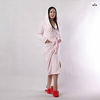 Халат махровий жіночий довгий на запах з капюшоном рожевий в смужку р. 42-52