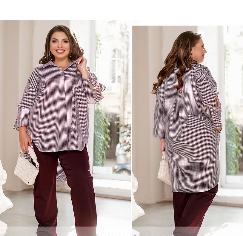 / Розмір 50-52,54-56,58-60,62-64 / комфортний Жіночий костюм з сорочки і штанів / 1065-Бордо