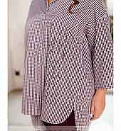 / Розмір 50-52,54-56,58-60,62-64 / комфортний Жіночий костюм з сорочки і штанів / 1065-Бордо, фото 3