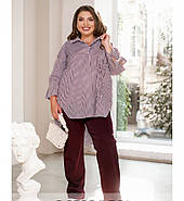 / Розмір 50-52,54-56,58-60,62-64 / комфортний Жіночий костюм з сорочки і штанів / 1065-Бордо, фото 2