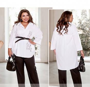 / Размер 50-52,54-56,58-60,62-64 / Женский комфортный костюм из рубашки и брюк / 1065-Черно-Белый