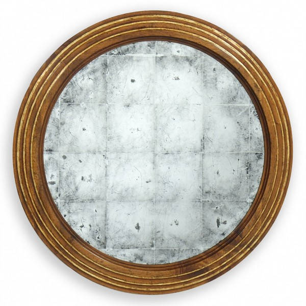 Состаренное зеркало с нанесением потали в круглой раме из дерева.