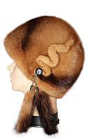 """Женская коричневая норковая  шапка модель """"конфетка """""""