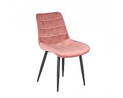 Стілець м'який Гламур рожевий, велюр + фарбований метал