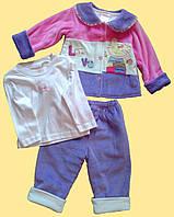 """Комплект велюровый, для девочки,""""Котик"""": курточка, лонгслив и штанишки"""