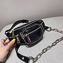 Ланцюгова поясна сумка через плече в стилі ретро з шкіри, модна жіноча сумка вишита бісером, нагрудна сумка, фото 2