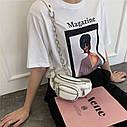 Ланцюгова поясна сумка через плече в стилі ретро з шкіри, модна жіноча сумка вишита бісером, нагрудна сумка, фото 3