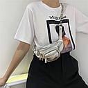 Ланцюгова поясна сумка через плече в стилі ретро з шкіри, модна жіноча сумка вишита бісером, нагрудна сумка, фото 4