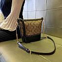 Жіноча сумка з натуральної шкіри, модна сумка-відро з заклепками, сумка через плече, фото 3