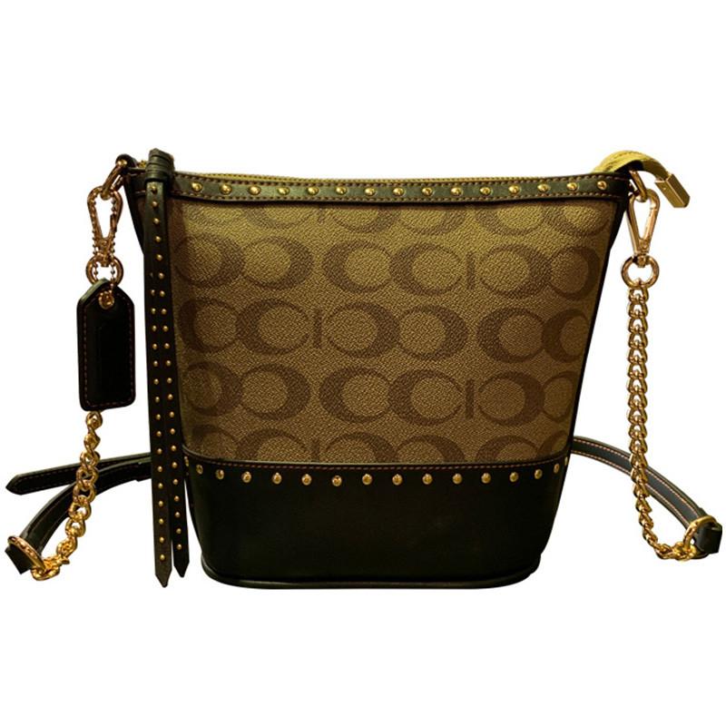Жіноча сумка з натуральної шкіри, модна сумка-відро з заклепками, сумка через плече