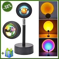 Проекционный светильник Sunset Lamp с эффектом заката, атмосферная лампа проектор с USB для дома