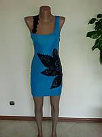 Платье голубое с кожаными вставками