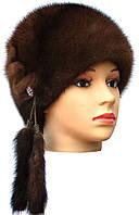 """норковая женская шапка модель """"конфетка """" цвет орех"""