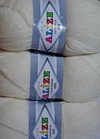 Пряжа нитки для вязания Lanagold Ланаголд 800 полушерсть молочный