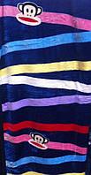 Покрывало плед микрофибра синие в полоску
