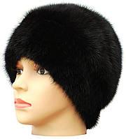 норковая  шапка на трикотаже , Лаура  цвет черный