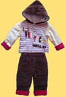"""Комплект """"Котик"""", детская теплая курточка и штанишки для мальчика, 3 м"""