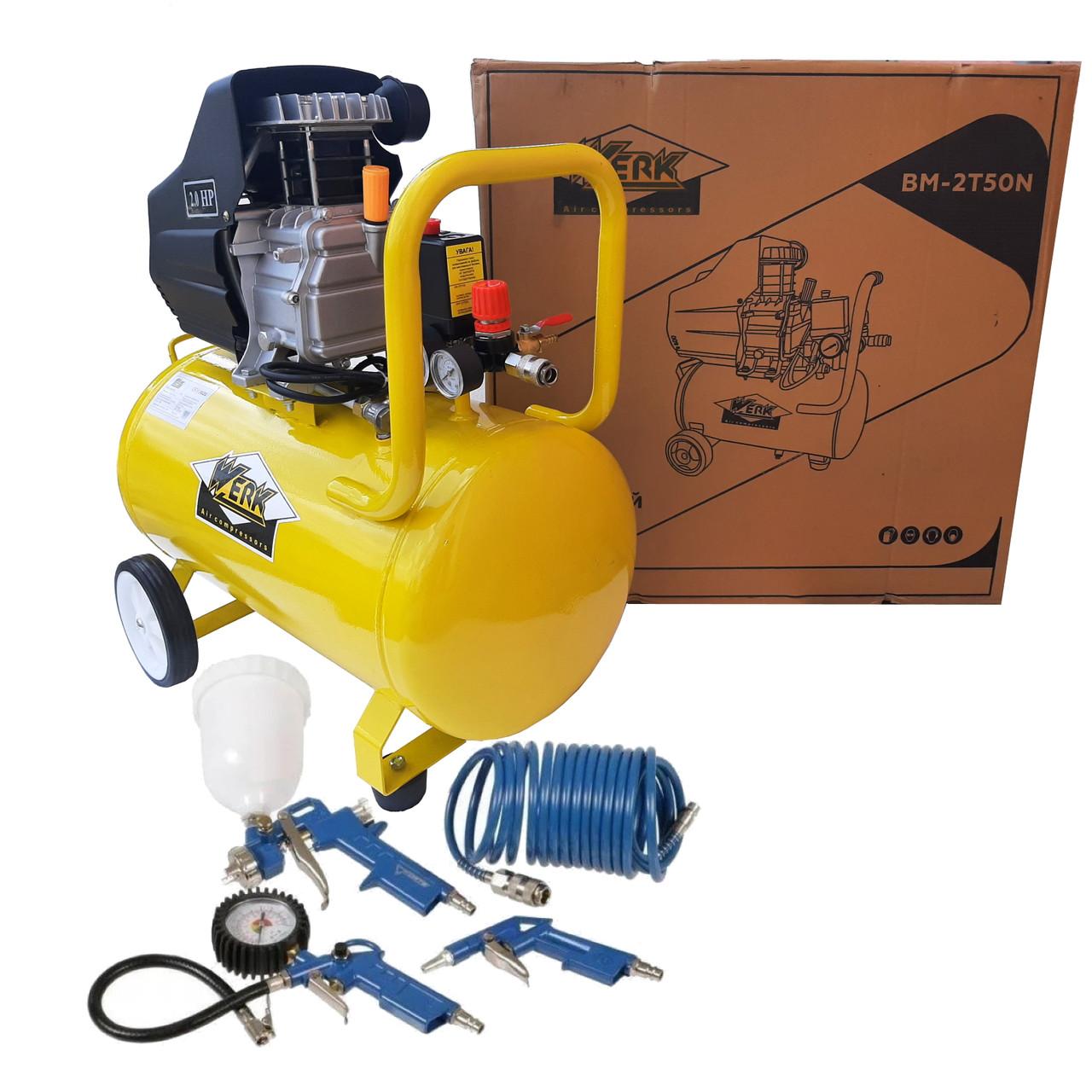 Поршневой компрессор для дома Werk BМ-2T50N Воздушный, 50л с Набором пневмоинструмента на 4 предмета!