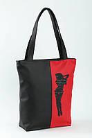 Молoдежная женская сумка с вышивkoй Devushka Ко черно/красный