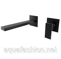 Черный смеситель встроенный в стену для умывальника 21 см Bugnatese Tetris 9146