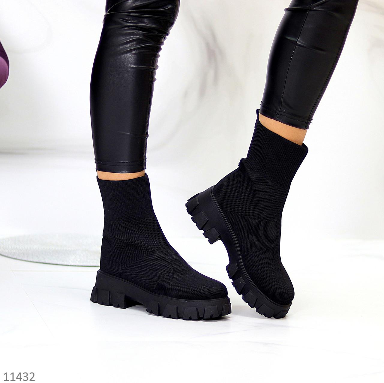 Ультра модні еластичні текстильні високі жіночі черевики на товстій підошві 39-25см