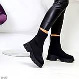 Ультра модні еластичні текстильні високі жіночі черевики на товстій підошві 39-25см, фото 2