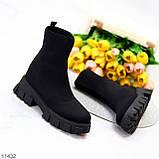 Ультра модні еластичні текстильні високі жіночі черевики на товстій підошві 39-25см, фото 4
