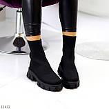 Ультра модні еластичні текстильні високі жіночі черевики на товстій підошві 39-25см, фото 5